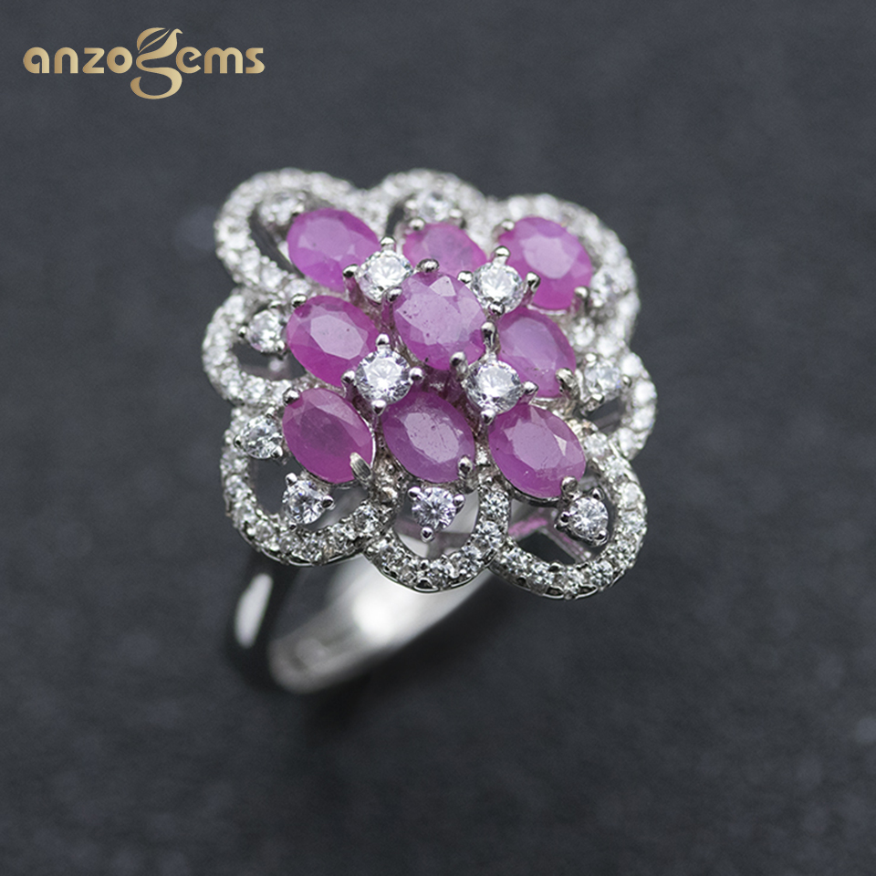 Anzogems African natural Ruby ring 925 sterling silver 2.0ct gemstone fine jewelry for women's gorgeous ring 2020 new style gift