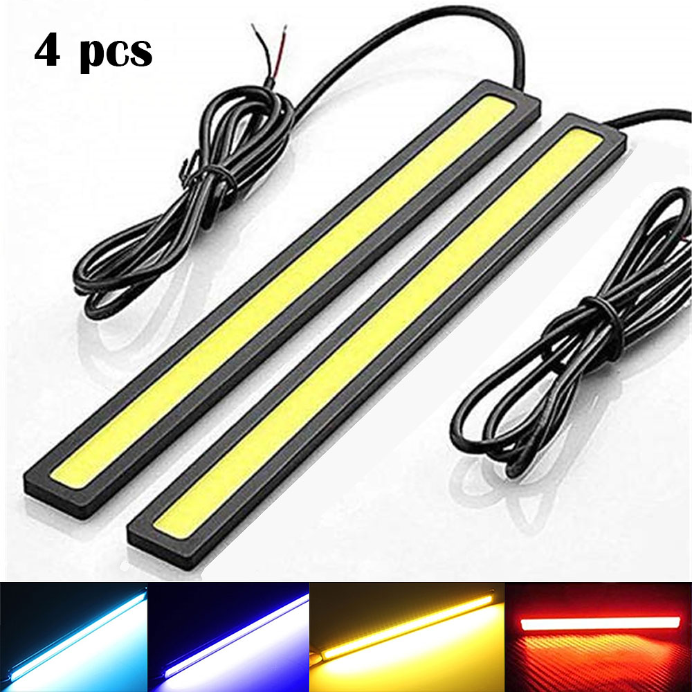 4 Pcs New 17cm LED COB Daytime Running Light Waterproof DC12V Car Light Source Parking Fog Bar Lamp Strip