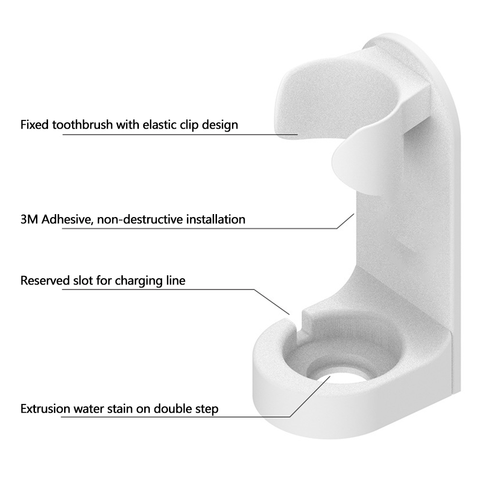 Wall Mounted Traceless Stand Punch Free Space Saving Bathroom Electric Toothbrush Holder Universal Gift Organizer Detachable image