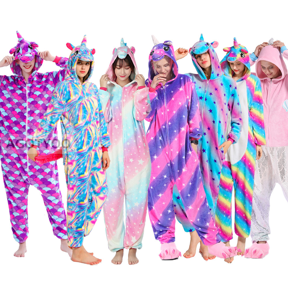 Women Pajamas Pyjamas Adults Flannel Sleepwear Homewear Kigurumi Unicorn Stitch Panda Tiger Cartoon Animal Pajama Sets PijamasPajama Sets   -