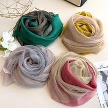 Silk Schal Frauen Weiche Lange Herbst Winter Schals Mode 2020 Solide Schals Und Wraps Hohe Qualität Foulard Pashmina Hijab Bandana