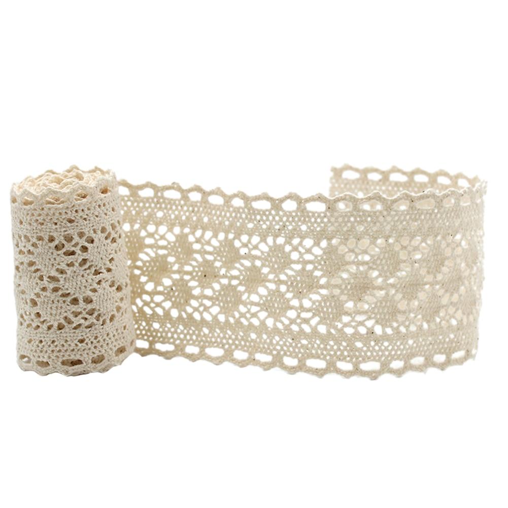 5yards Ribbon Decoration Cotton Handmade Lace Trims Beige DIY Patchwork Apparel Accessories Hometexile Embellishment Lightweight
