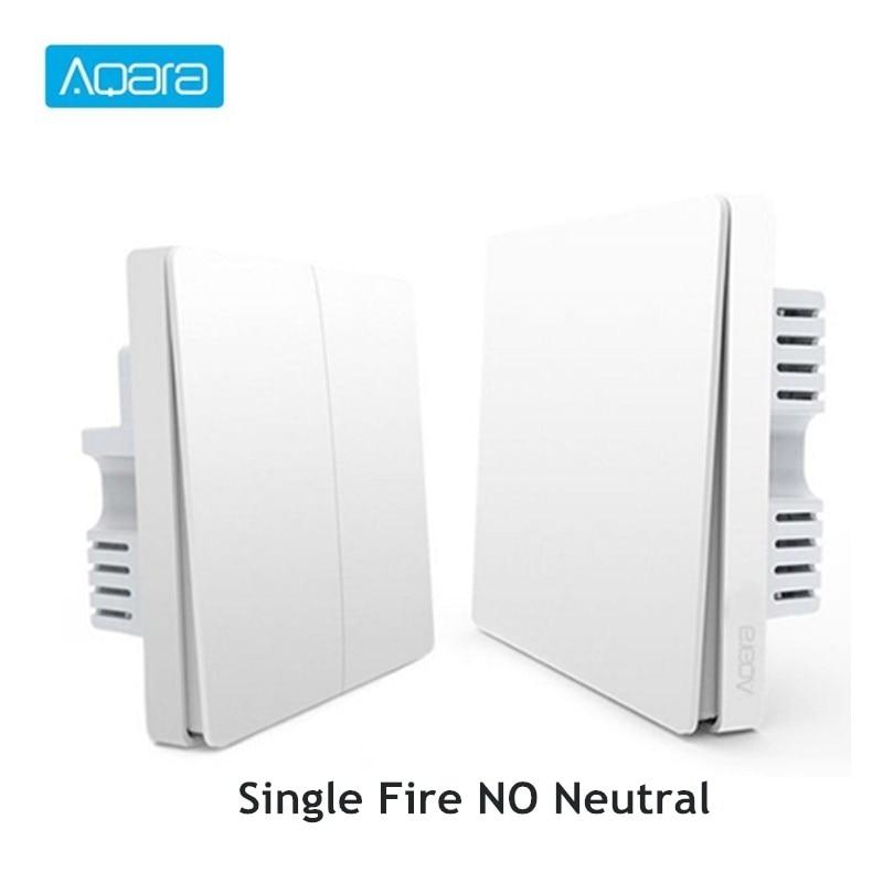 Aqara Inteligente Interruptor De Luz de Parede Única Linha de Fogo Versão APP Controle Remoto ZigBee Wi-fi de Conexão Sem Fio