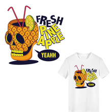 Iron on Pineapple Letter Skull Patches for Clothing DIY T-shirt Applique Heat Transfer Vinyl Thermo Stickers Stripes Clothes