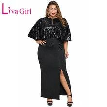 LIVA GIRL Black/Navy 2019 Female Dress Cape Sequin Women Plus Size Long Dress Sexy Slit Big Size Formal Party Maxi Dress XL-5XL height=