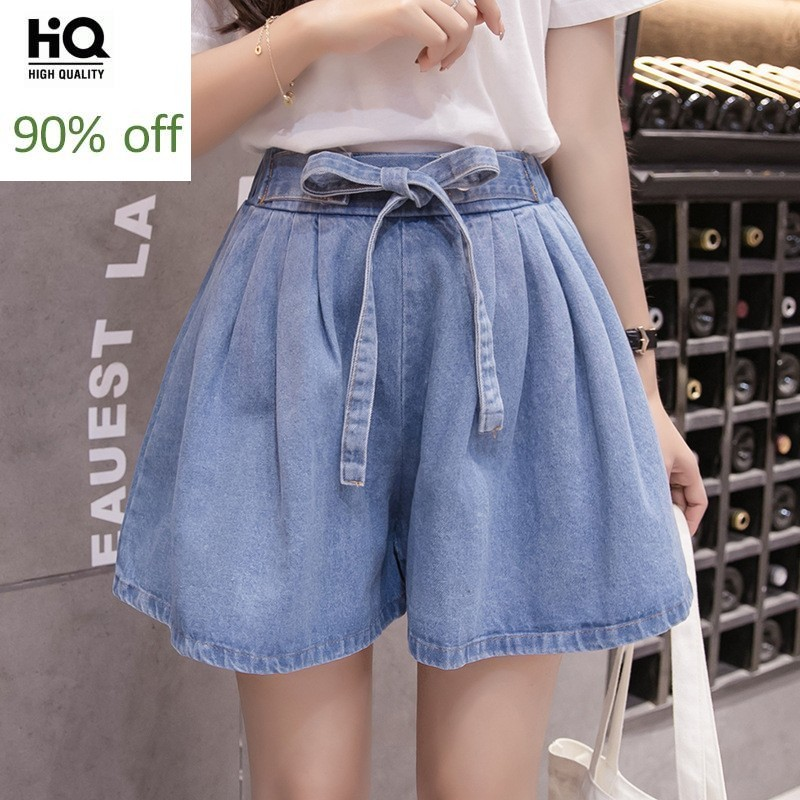 Streetwear Wide Leg Short Women Korean Style Fashion High Elastic Waist Loose Fit Denim Trouser Casual High Street Jeans Female