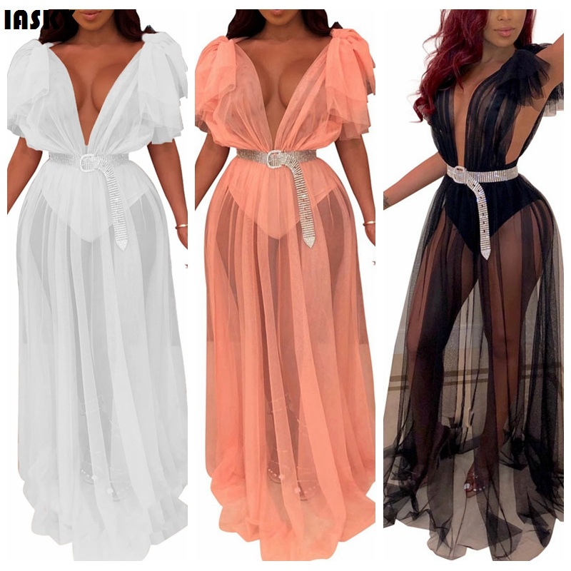 2019 New mesh see through bikini cover ups sexy women Deep V Neck Swimwear bathing suit cover up beach dress Robe De Plage