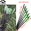 "12PCS High Quality Archery Fiberglass Arrows Crossbow Bolts 4"" green White TPU Vanes GlassFiber Arrows"