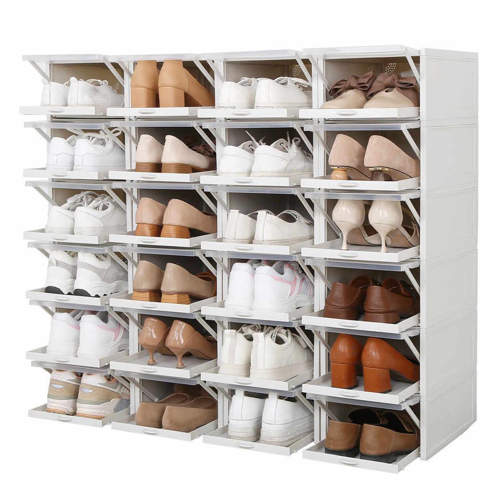 3 Pcs Flip Kotak Sepatu Transparan Kasus Laci Plastik Kotak Sepatu Stackable Kotak Organizer Sepatu Kotak Sepatu Penyimpanan Rak Sepatu ##6