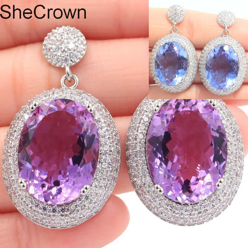 Fantastic Color Changing Alexandrite Topaz White CZ SheCrown Silver Earrings 40x22mm in Earrings from Jewelry Accessories