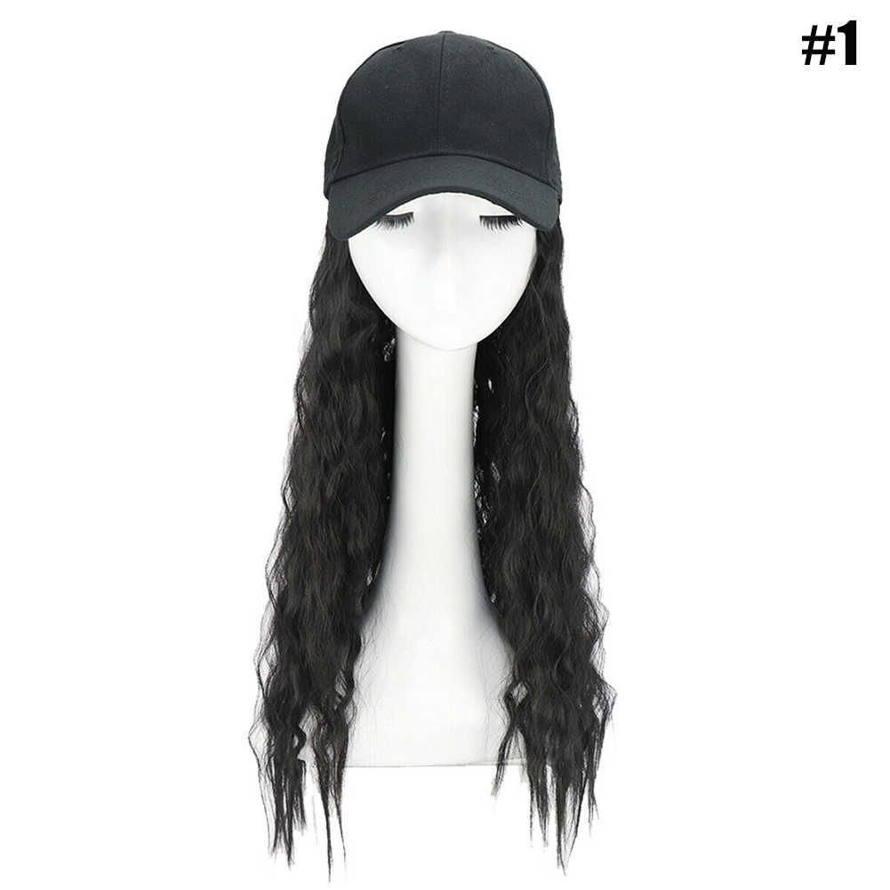 Dropshipping New Hot Sale Baseball Cap with Synthetic Hair Extension Long Hair Wig Hat for Women SMJ
