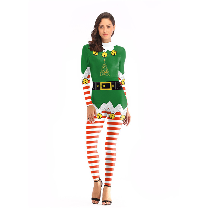 Santa Claus Santa Elf Printed Jumpsuit Christmas Costume Cosplay Striped Small Bell Costumes For Women Bodysuit