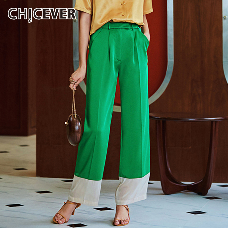 CHICEVER Summer Hit Color Patchwork Full Length Women   Pants   High Waist Casual Loose   Wide     Leg     Pants   Female Fashion New Clothing