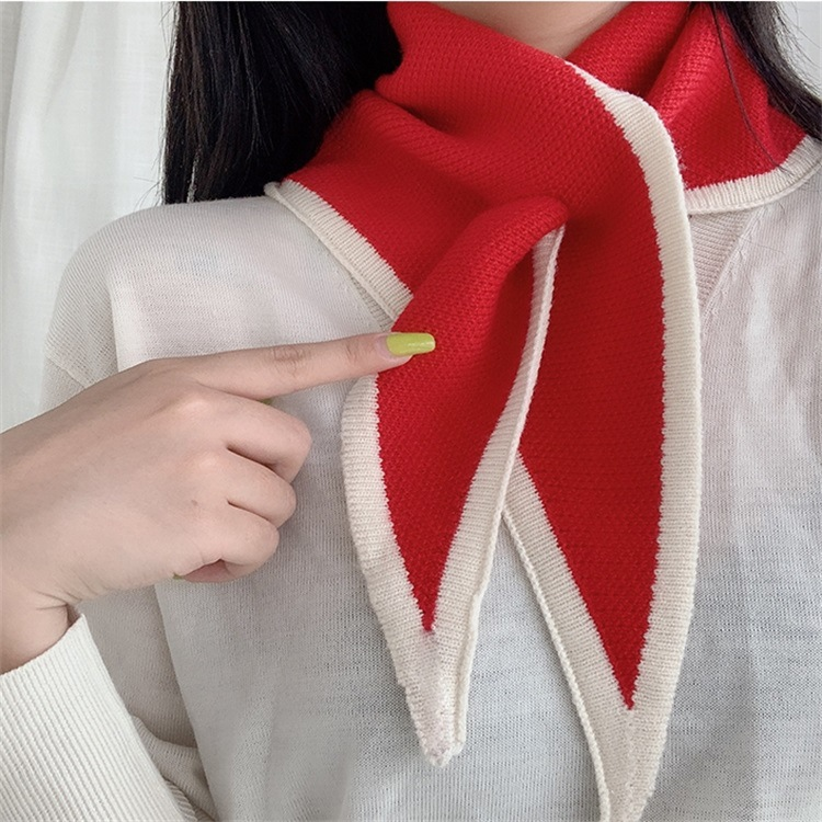 Korean-style Autumn And Winter New Style Yarn Knitted Scarf Women's Winter Solid Color Versatile Mini Triangular Binder Warm Sma