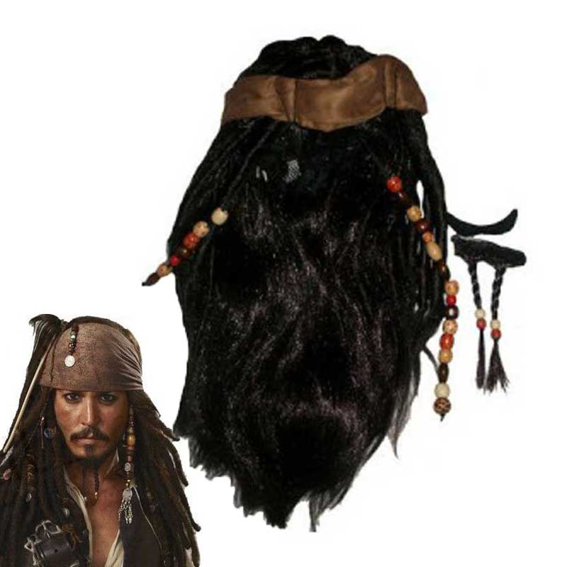 Wig Pirates Caribbean Jack Sparrow Captain Costume Accessories Wigs Beards Sets For Party Cosplay Costume Halloween