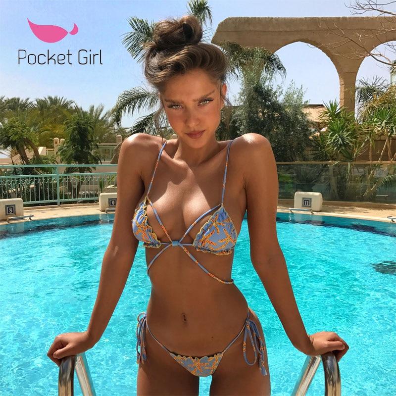 Pocket Girl 2020 Women Padded Bra Swimsuit Ladies Bikini Bandage Bikini Set Swimwear  Beachwear Micro Bikinis Femmes Maillot De