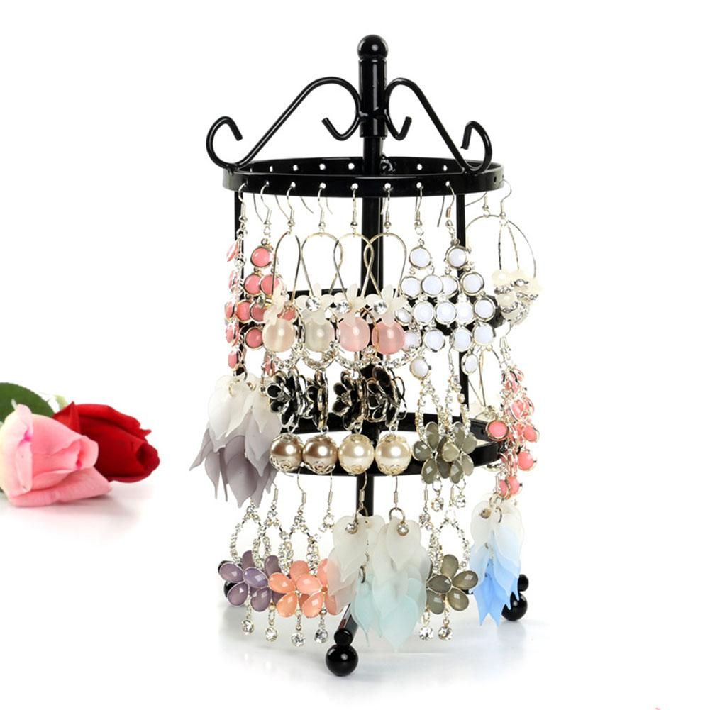 3 Tiers 72 Holes Rotary Round Earrings Display Rack Metal Rotating Jewelry Stand Holder Ear Stud/Necklace Organizer Jewelry Rack