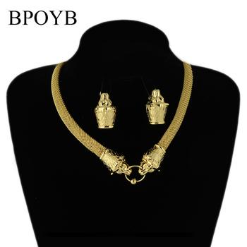BPOYB moda lew masywny naszyjnik kolczyki fantazyjne włochy Au 750 czystego złota zestaw biżuterii kolor kobiety Party luksusowe Jewelries tanie i dobre opinie Miedzi CN (pochodzenie) Metal Punk Earrings Necklace Naszyjnik kolczyki CS0028 Zestawy biżuterii Zwierząt 0 070 kg