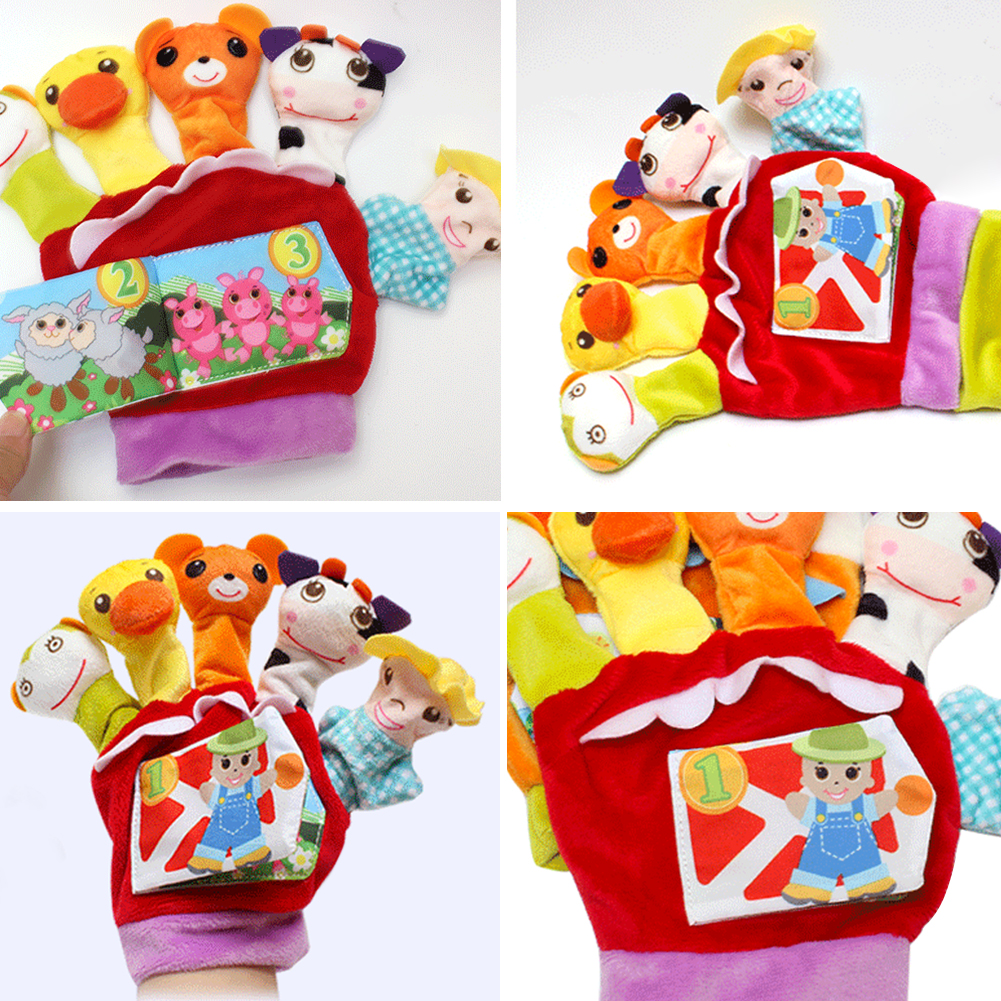 Glove Plush Finger Doll Baby Kids Cartoon Educational Story Toys Puppets Cloth