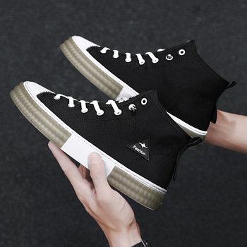 Shoes For Men Casual Sneakers Men's Fashion Casual Outdoor Canvas Lace Up High-top Sports Skateboard Shoes image