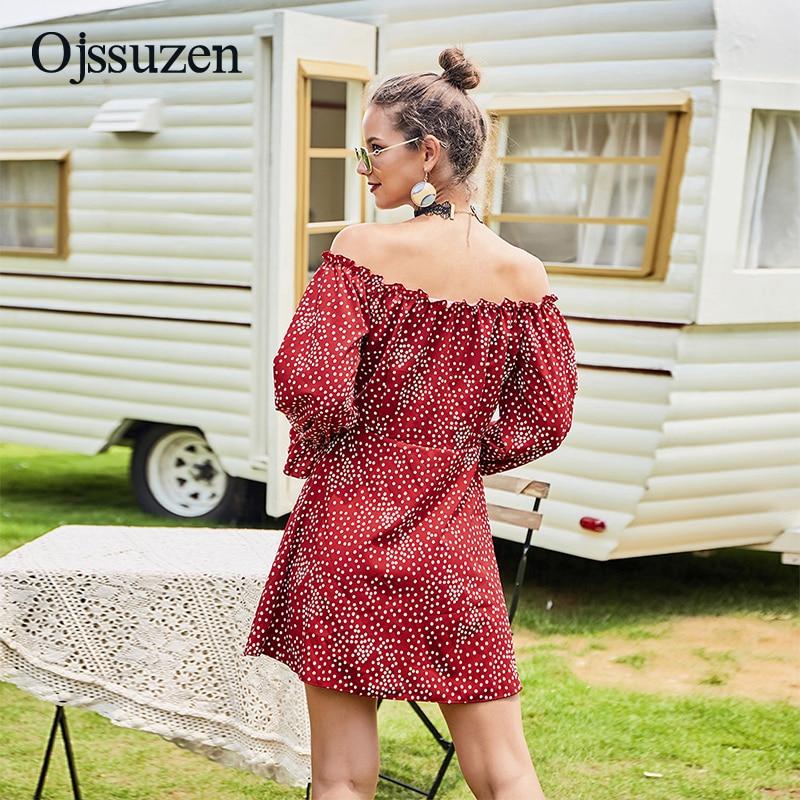 Red Off Shoulder Women's Dresses Sexy Long Sleeve Spring Dress Woman's Mini Slim Button Dot Vestidos Ladies