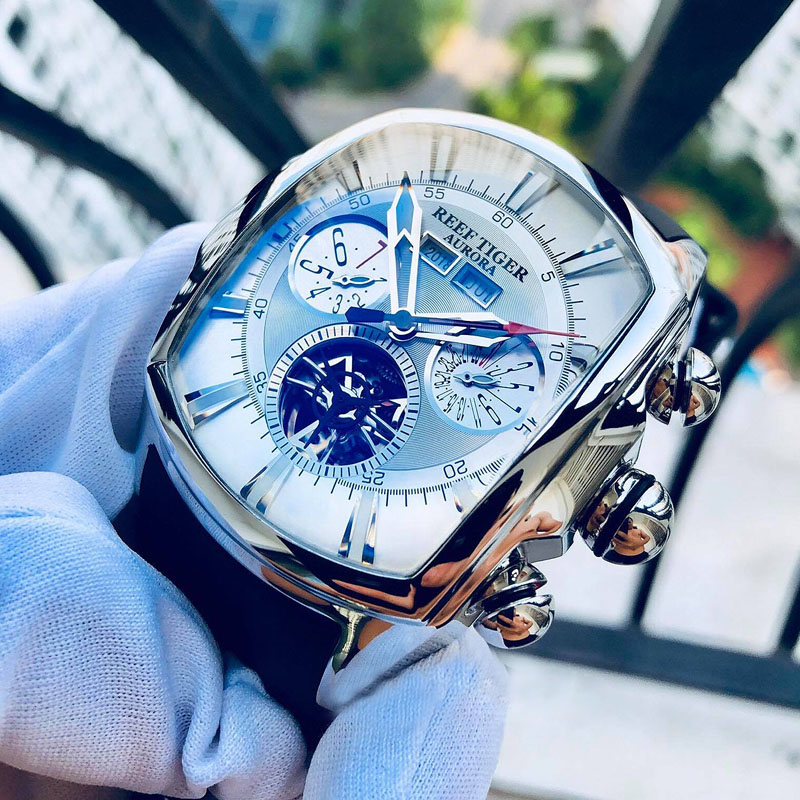 Reef Tiger/RT Top Brand Luxury Big Watch White Dial Mechanical Tourbillon Sport Watches Relogio Masculino RGA3069