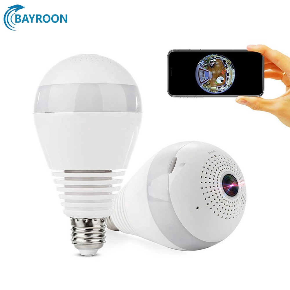 IP Camera 360 Degree Panoramic WiFi Cameras HD 1080P 960P Bulb Light V380 Fisheye CCTV Cameras Wireless Security Baby Monitor