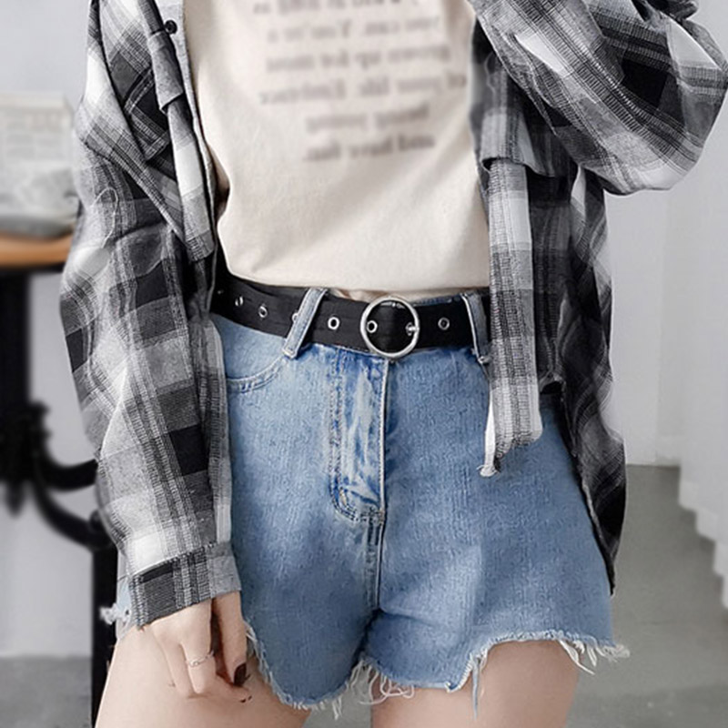 Women Nylon Belts Round Pin Buckle Solid Color Ladies Waist Strap Jeans Trouser Black Student Female Waistband Punk Adjustable