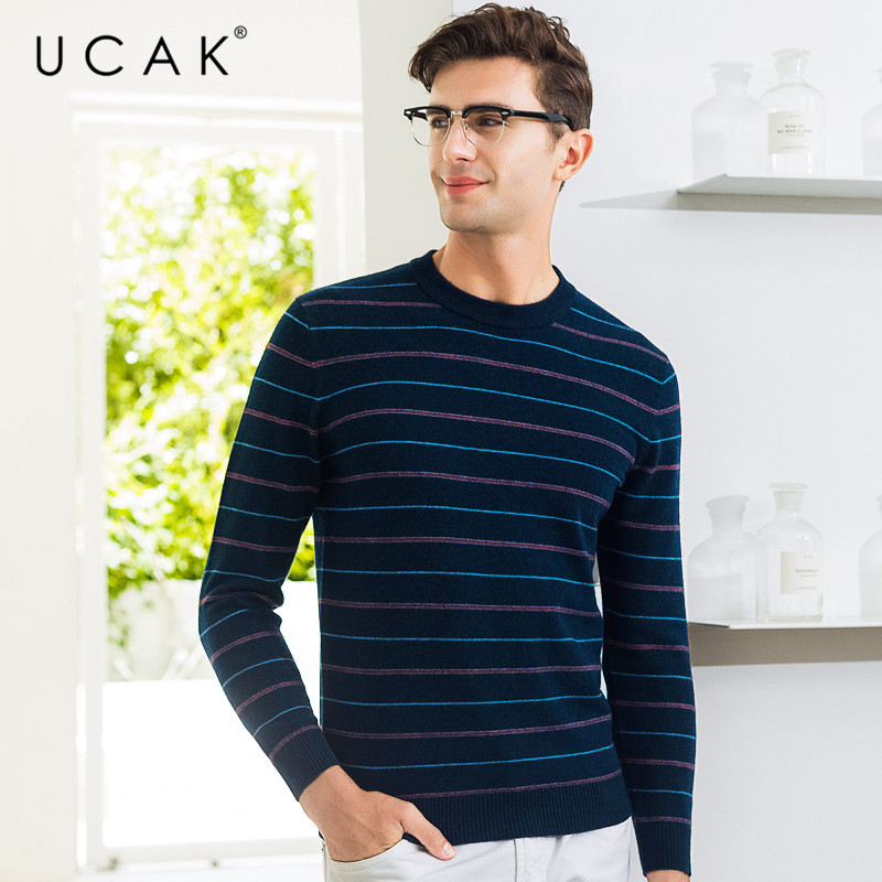 UCAK Brand Pure Merino Wool Sweater Men Casual Striped O-Neck Pullover Men Autumn Winter Warm Cashmere Sweaters Pull Homme U3073