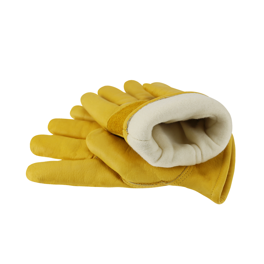 Winter Work Gloves Cowhide Leather Thermal Motorcycle Glove Cold Weather Cotton Lining Freezer Working Glove
