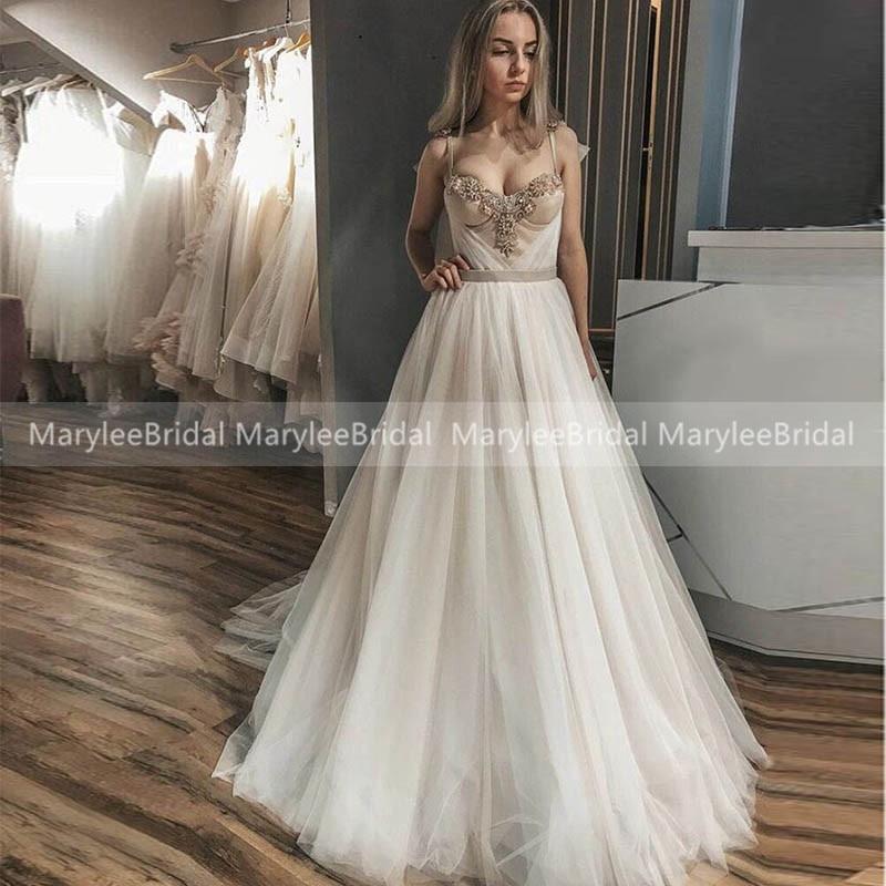 2020 Romantic Tulle Wedding Dresses Spaghetti Straps Corset Back Formal Bridal Dresses Delicate Beading Women Dresses Customize