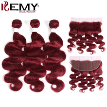 99J/Burgundy Body Wave Human Hair Bundles With Frontal 13x4 KEMY HAIR Brazilian Red Color Closure NonRemy