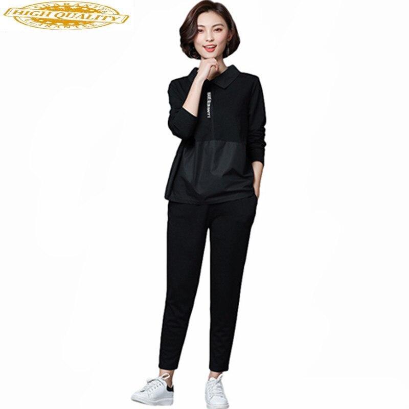 2019 5XL Plus Size Shirt Women Cotton Casual Top Tees Female Loose Pants Spring Elastic Waist Pants Two Piece Set WXF706