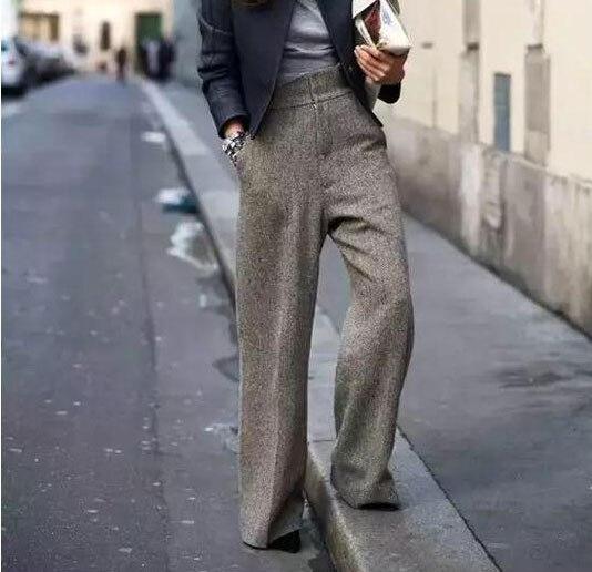 2020 Autumn/Winter Women Pants High Waist Wide Leg Pants Straight Femme Chic Thicken Long Pant Female Long Trousers Streetwear
