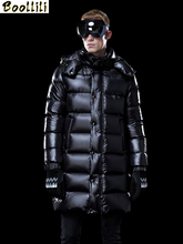 Boollili Men #8217 s Down Jacket Long Winter Coat Thick Warm Puffer Goose Down Jacket Men Clothes 2020 Hooded Plus Size Coats cheap REGULAR M1801M1HL013 Casual zipper Full Pockets NONE Thick (Winter) Poplin NYLON Grey goose down 300g Solid plumas hombre invierno