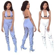 Sun Reflective Cloth Fabric Two Piece Set Backless Crop Top Palazzo Pants Sexy Casual Outfits Halter Sweat Suit Streetwear Loose