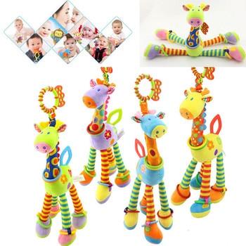 Baby Plush Rattle Toys Cartoon Giraffe Handbells Infant Development Handle Toys Bed Stroller Hanging Teether Educational Toys