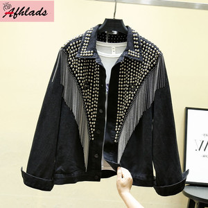 Image 2 - 2020 Autumn Denim Jacket Coat Women Rivet Tassel Chain Short Coats Woman Loose Streetwear Long Sleeve Black Coats Outerwear