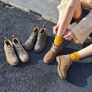 Image 5 - 발목 부츠 여성 정품 스웨이드 가죽 레이스 높은 상위 더비 신발 가을 플랫 힐 레이디 신발 BeauToday 04018