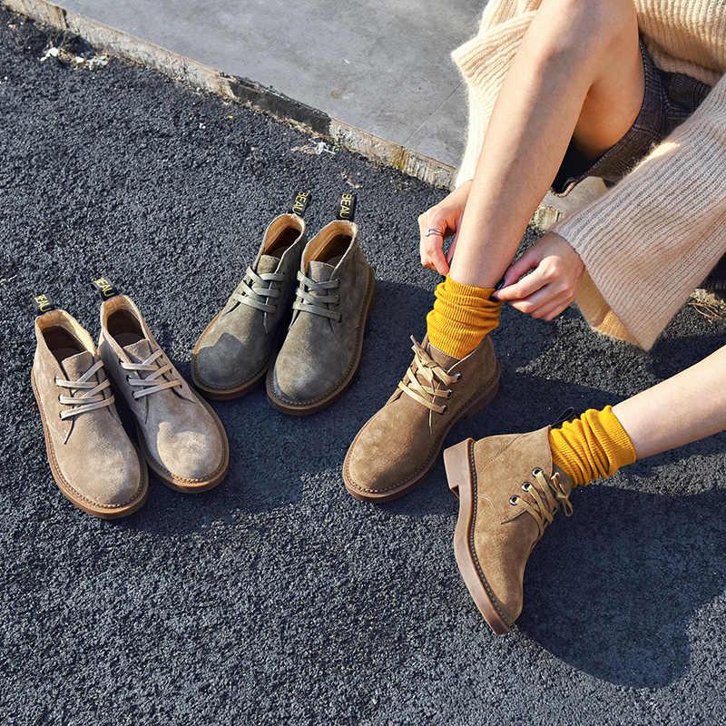 BeauToday yarım çizmeler Kadın hakiki süet deri Dantel-up Yuvarlak Ayak En Kaliteli Sonbahar Kış Bayan moda ayakkabılar 04018