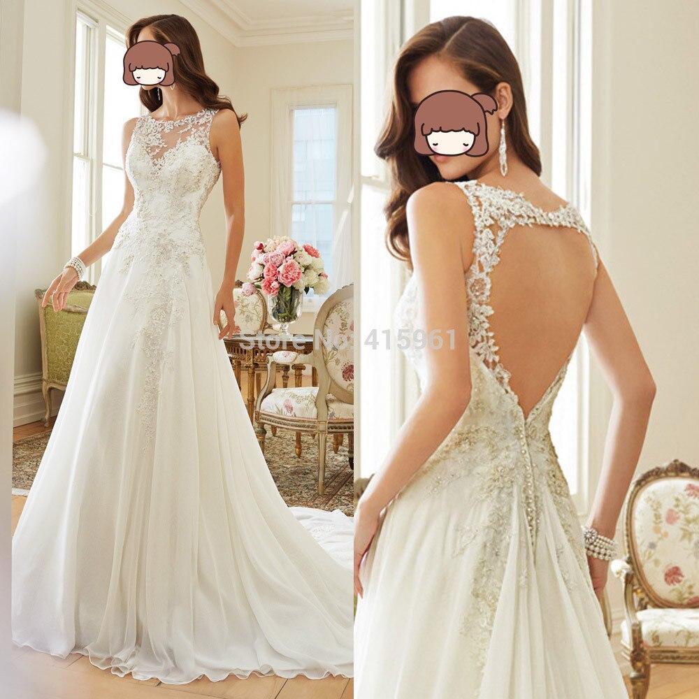 Robe De Marriage Lace Wedding Dress 2019 Open Back Bridal Gowns Scoop Tank Vestido De Noiva Casamento Women Wedding Dresses