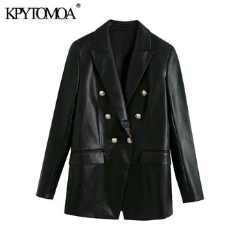 KPYTOMOA Women 2020 Fashion Double Breasted Faux Leather Blazers Coat Vintage Long Sleeve Back Vents Female Outerwear Chic Tops