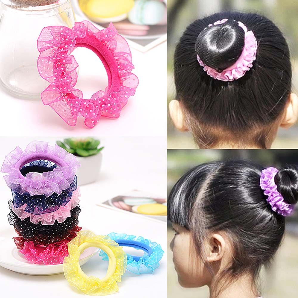 Hot Lace Flower Candy Color Rubber Band Girl Children Elastic Hair Rope Princess Hair Accessories Hair Rope Flower Hair Ring
