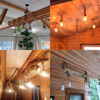 1/2/3/4/5 head vintage hemp rope pendant light retro loft industrial hanging lamp edison bulb lamp home light decoration ZDD0003 6