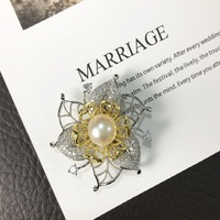 KingDeng Natural Pearl Brooches Rhinestone Gifts for Women Luxury Fine Flower Silver Cute Lapel Pin Fashion Jewelry Enamel Pins