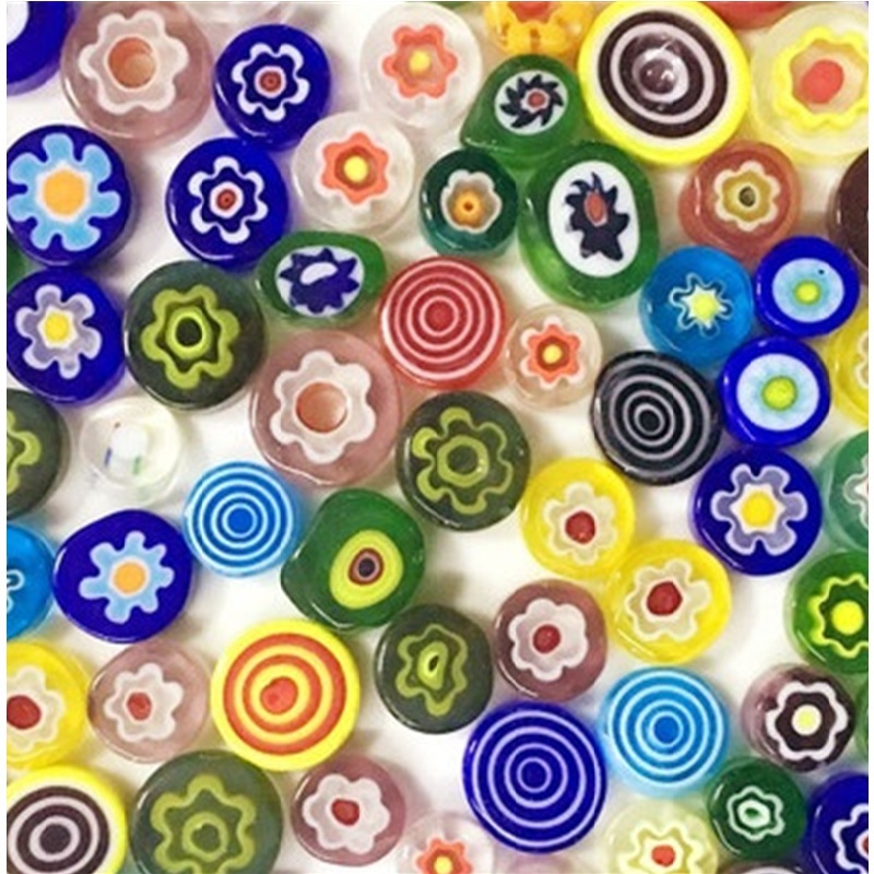 28g Mixed Flower Mosaic Glass Tiles Art Round Beads For Jewelry Making DIY Handmade Candle Holder Lampshade Craft Material