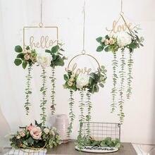 Amor ins carta flor forjado parede pendurado grinalda de ferro simulação flor decoração para casa cena do casamento pingente aéreo guirlanda