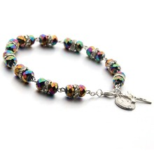 Cross Crystal Bracelet  8MM Beads four Colors for Women womens bracelet Charm Colorful
