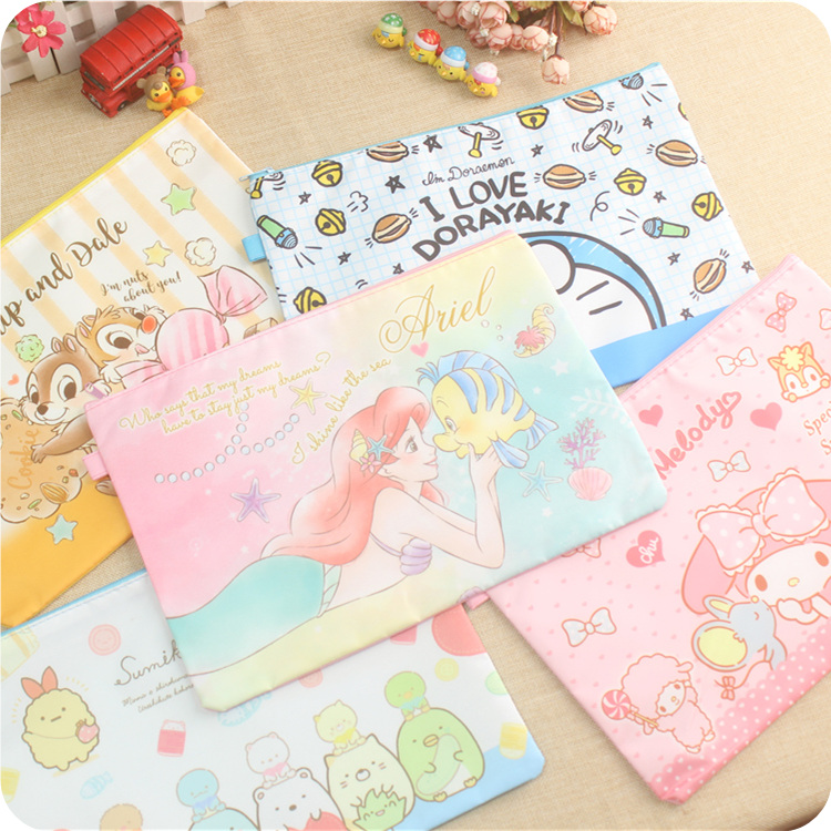 Cartoon Melody Stitch A4 File Bag Mesh Bag Document Bag PVC File Folder Stationery Filing Production