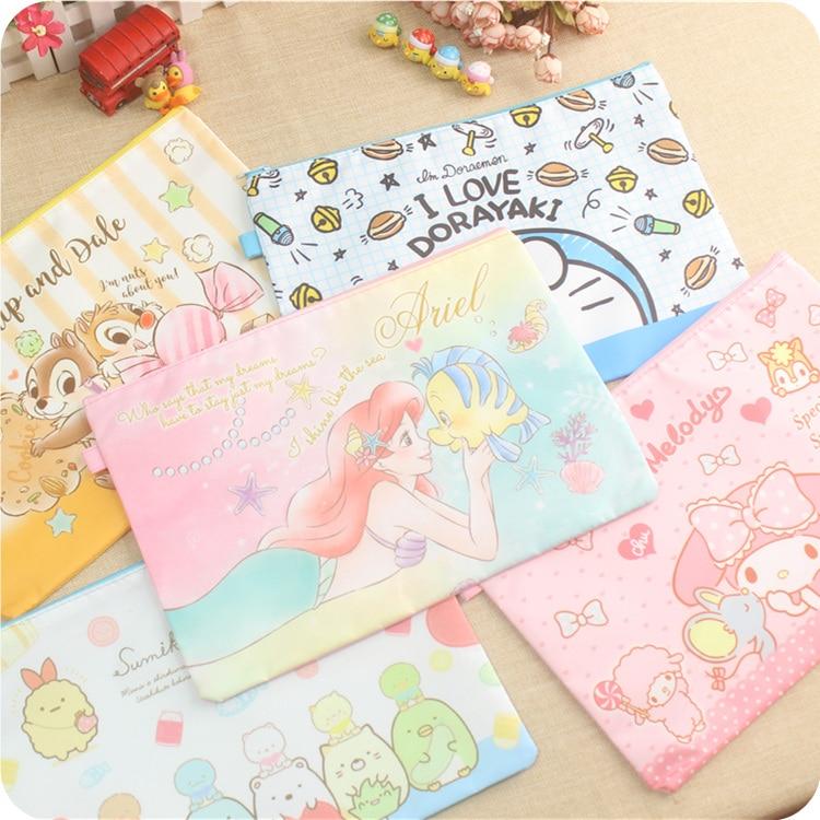 Cartoon Melody Stitch A4 File Bag Mesh Bag Document Bag PVC File Folder Stationery Filing Production